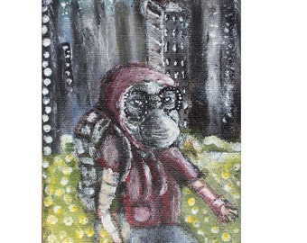 Original trippy Impressionist painting of Leaving City Burlap Sack Canvas Fantasy Sci-fi Surreal portrait Zombie Gasmask Cityscape Nature