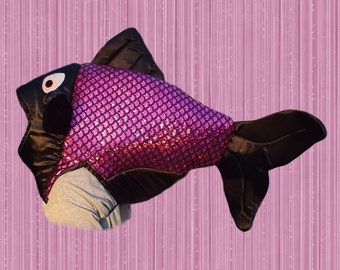 Fish Costume  Fits Adult or Child  Holographic Pink/Black foil fabric, covered foam head with underarm ties, lined