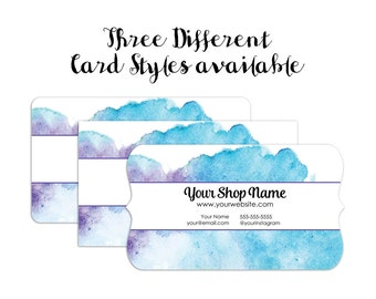 Business Cards - Custom Business Cards - Personalized Business Cards - Mommy Calling Cards - Blue Watercolor - SH009004