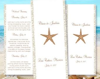 "Destination Wedding Itinerary Template ""Starfish"" Beach, Tropical, Hawaiian Theme Word.doc Instant Download 8.5 x 11 DIY You Print"