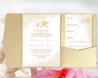 "DIY Pocket Fold Beach Wedding Invitation ""Confetti Starfish"" Blush Pink & Gold Printable Templates Tropical, Hawaiian, Destination You Print"