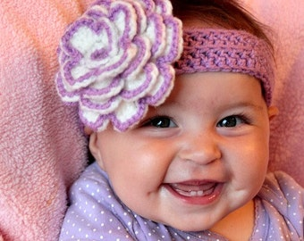 Flower bloom crochet baby headband- Choose your own colors- Custom crochet headband made to order- Crochet baby photo prop