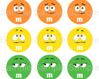 M Candy Faces 4x6 Collage Sheet - Digital Instant Download - 1 inch Circles for Bottle Caps, Magnets, Hair Bow Centers, Stickers