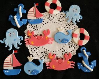 Ahoy Its a Boy Nautical Cake Toppers, Nautical Baby Shower Decoration, Nautical Birthdays,  Nautical Theme Baby Shower, Nautical Corsage Pin