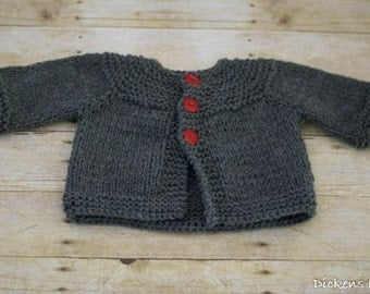 Knit Baby Sweater, Knit Baby Cardigan, Baby Boy Knit Sweater, Gray, Grey - 3 to 6 months - Ready to Ship