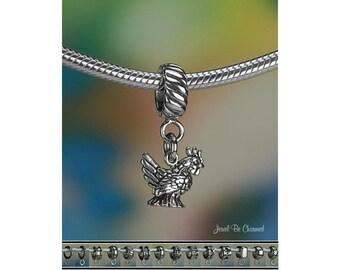 Hen Charm or European Style Charm Bracelet Sterling Silver Chicken 925
