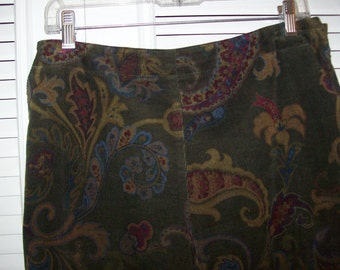 Vintage Talbot''s Pinwale Corduroy Paisley Pants Size 12  Fall find !