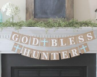 God Bless Banner- Baptism Banner-Christening Banner-Communion Banner