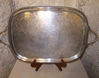 40's Sheffield Large Scrolled Silverplate Tray/Platter Vintage
