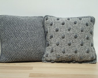 Set, Knit Pillow, Grey Pillow, Home Decor, Decorative Pillows, Knit Home Decor, Cable Knit Pillows, Knit Pillow Cover, Pillow Set