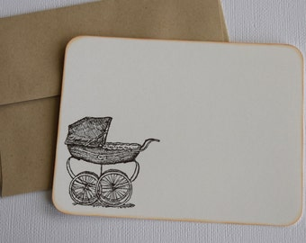 Set of 10 Flat Note Cards - Baby Carriage / Buggy - Thank you cards