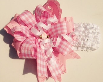 Baby Girl Stretchy Headband with Large Pink and White Bow
