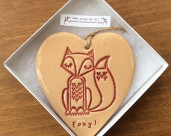 Foxy fox hanging ceramic gift/decorative item handmade in Wales