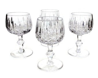 Heavy Crystal Wine Glasses, Cross and Olive, Bamboo Stem, Set of Four