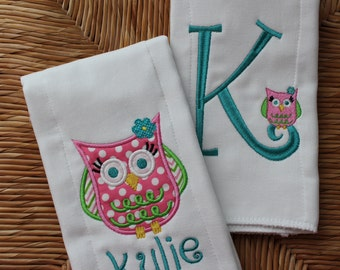 Baby Girl Owl Personalized Burp Cloth Set