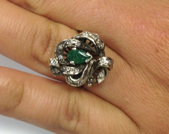 Antique Emerald and Diamond Ring- 14 k - Sizable