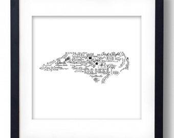 North Carolina - Hand drawn type and illustrations