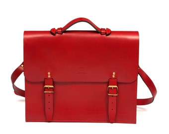 Red satchel with two pockets