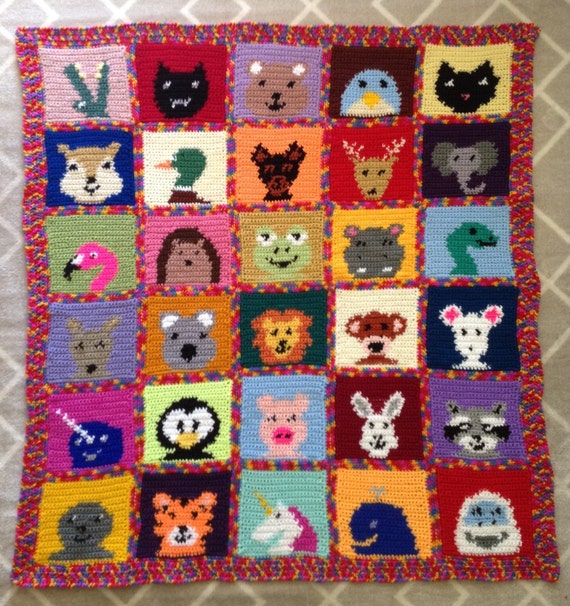 Crochet Baby Blanket Patterns With Animals : Handmade Crochet Animal Faces Childs Blanket