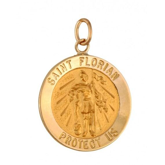 St Florian Necklace: Saint Florian 18.5mm 14K Yellow Gold Pendant By