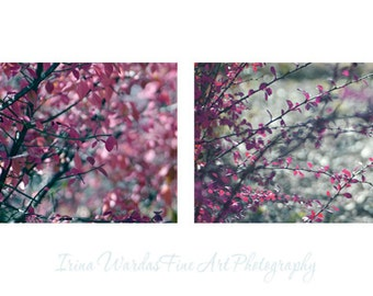 Tree branch art photography set of 2 botanical prints, purple magenta pink & grey decor, red leaf nature wall art living room, light bokeh
