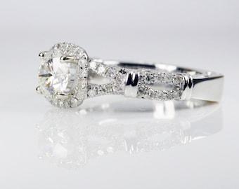 Split shank halo Engagement Ring - Antique/unique - GIA/AGS