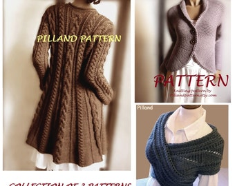 Knitting Pattern Cabled Sweater Pattern Cowl Vest Sweater