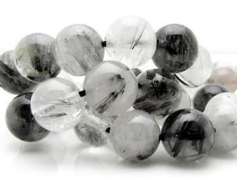 Black Rutilated Quartz Bead, 8mm, 1 Strand
