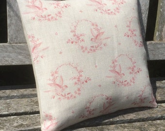 Complete cushion in Peony and Sage Birdsong  Vintage Red
