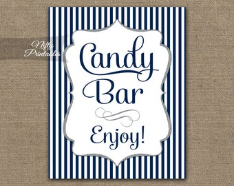 Candy Bar Sign - Navy Blue Candy Buffet - Navy White Printable Candy Bar Table Sign - Wedding Signs - Blue Baby Bridal Shower Candy Sign NSG