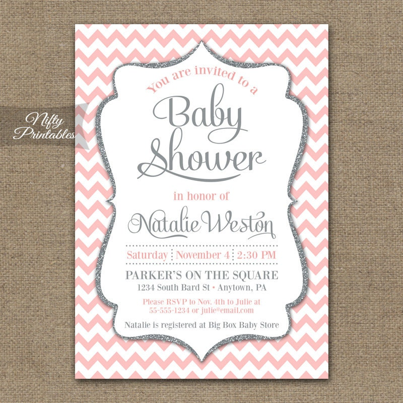 pink gray baby shower invitations printable blush pink