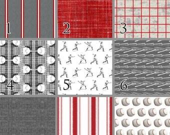 Vintage Baseball (Baby Bedding) Gray Red White Premium Crib Bedding. Baseball Crib Set. Toddler Bedding. Choose your Design.