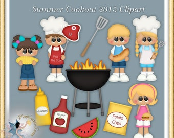 Summer Cookout Clipart, Barbecue, BBQ Party