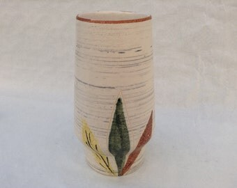 Mid-century modern vase with three-leaf decoration 20 cm West-Germany