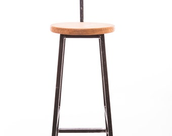 Industrial steel and oak barstool with backrest