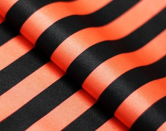5 Yard/5 Meter Stretch Fabric - Stripe  Print, Orange and Black Striped Four way Stretch Spandex Fabric Item# RXPN-1/2-STRIP