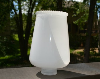Art Deco Light Shade, Hurricane Light Shade,  Hurricane Candle Shade, Short Hurricane, Overlay Glass, White Glass Shade, Shade Replacements