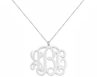 Custom Made 3 Initials Monogram Pendant Necklace in 925 Sterling Silver - Monogram Necklace - Nameplate Necklace