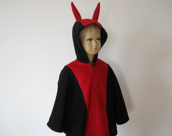 devil halloween carnival costume cape for toddlers black red