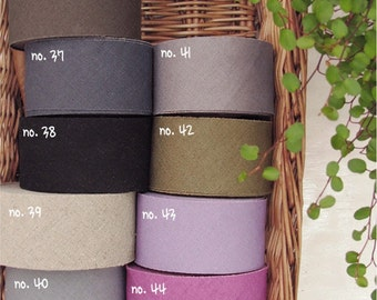 "Linen Bias Tape 1.45"" (3.7 cm) wide x 10 yards long in 9 Colors By The Roll"
