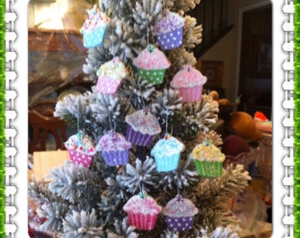 candy land ornaments. Set of 12 mini cupcakes.
