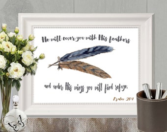 He will cover you with His feathers Christian wall art Bible verse Psalm 91:4 Feather decor Navy brown Christian decor 5x7, 8x10 DOWNLOAD