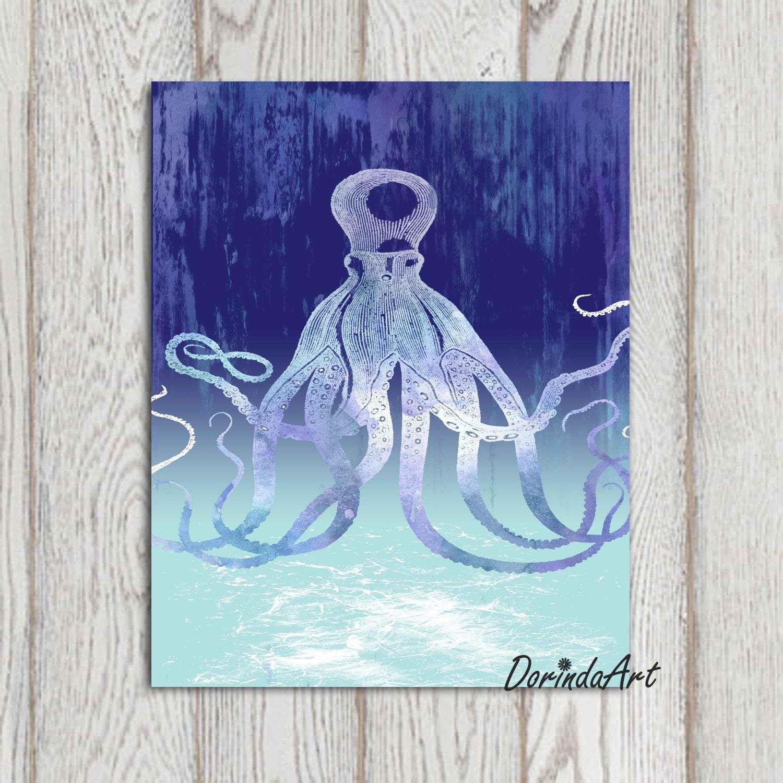 blue octopus print instant download 11x14 5x7 8x10 navy. Black Bedroom Furniture Sets. Home Design Ideas
