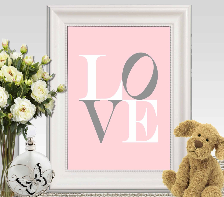 Little Girl Bedroom Art: Love Print Pink Nursery Wall Art Little Girls Bedroom Decor