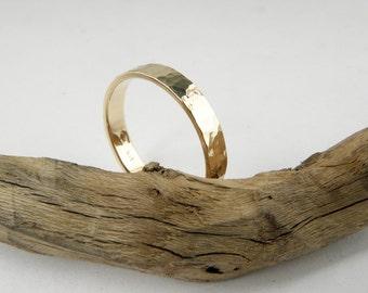 14k Yellow Gold Wedding Band - Hammered wedding Band- Handmade - Men - Women - 4x1.2mm