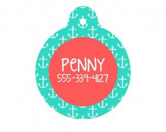 Personalized Mint Anchor Dog Tag
