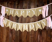 Pink & Lace First Birthday Party Decorations Happy Birthday Banner for Baby Girl Cake Smash Photo Prop Reusable Burlap Pennant Bunting Sign