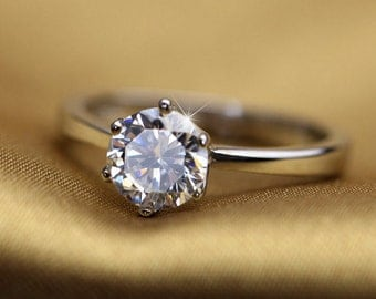 1 ct Swarovski Cubic Zirconia Engagement ring ~ PURE BRILLIANCE CUT~Sterling Silver Ring Flash Sale!
