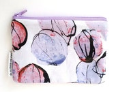 Purple Purse, Coin Pouch, Cotton Bags and Purses, Gift for Her, Card Wallet.