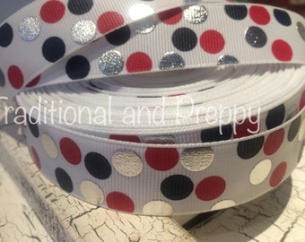 "7/8"" Patriotic All American Polka Dot Grosgrain Ribbon sold by the yard"